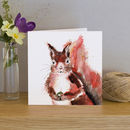 Inky Squirrel Blank Greetings Card