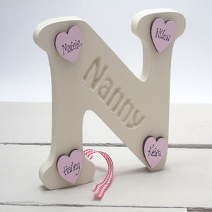 N Is For Nanny Freestanding And Personalised Hearts