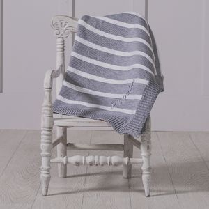 Personalised Striped Grey Baby Blanket