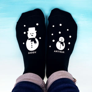 Personalised Snowman Family Socks - gifts for him