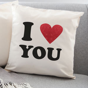 I Love Personalised Red Glitter Heart Cushion - valentine's gifts for him