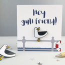 'Hey Gull Friend' Seagull Enamel Pin And Card