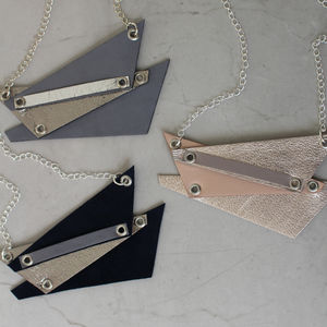 Shard Geometric Metallic Leather Necklace - necklaces & pendants