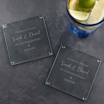 Personalised Engagement Glass Coaster Set