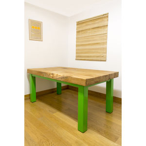 Oak And Iron Medium Dining Table - garden furniture