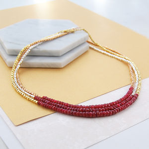 Gold/Silver Genuine Ruby Birthstone Necklace