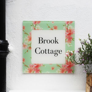 Personalised House Number Sign, Floral Apple Blossom
