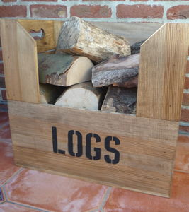 Personalised Vintage Style Large Log Crate
