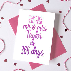Personalised Days You've Been Mr And Mrs Card - anniversary cards