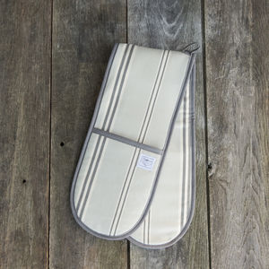 Eastnor Grey Stripe Organic Double Oven Gloves - kitchen accessories