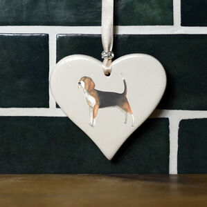 Beagle Ceramic Heart