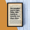 'No Wonder You're Late' Alice In Wonderland Book Print