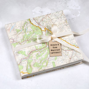 Personalised Map Location Wedding Guest Book - albums & guest books