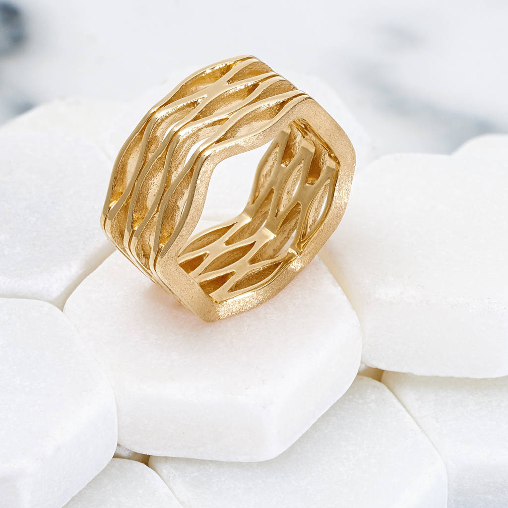 Wide Gold Ring Handmade Onda
