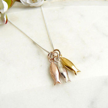 Triple Tiny Fish Tricolour Necklace
