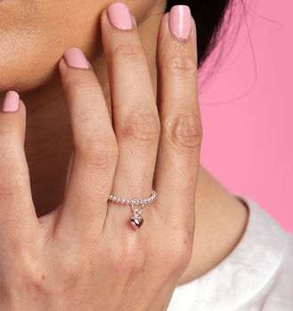 Two Tone Heart Tag Ring