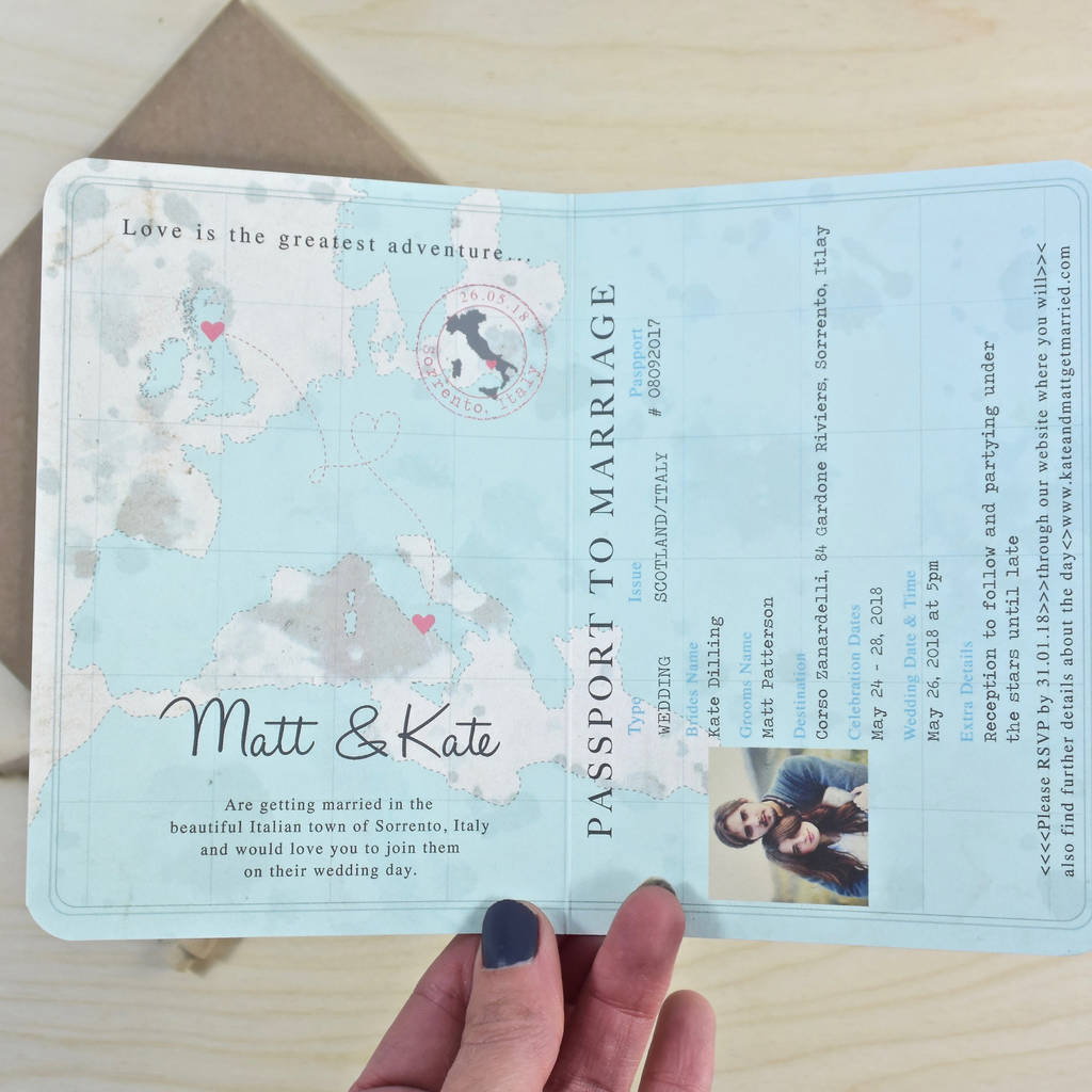 paper style wedding invitations%0A Vintage Style Passport Wedding Invitation