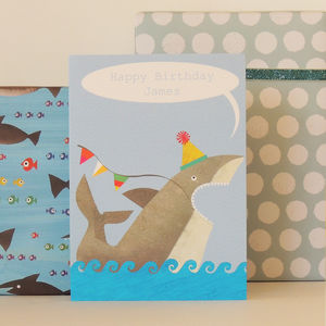 Personalised Bubble Shark Card - birthday cards