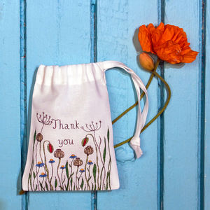 Personalised Poppy Meadow Drawstring Gift Bag - gift bags & boxes