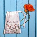Personalised Poppy Meadow Drawstring Gift Bag