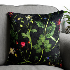 Dark Floral Botanical Print Cushion