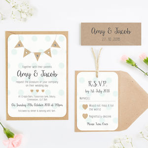 Burlap Bunting With Polka Dots Wedding Invitation - invitations