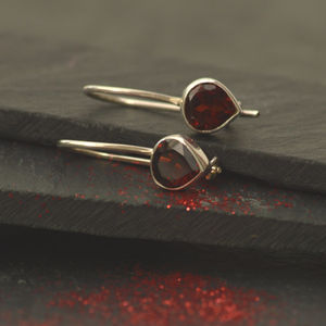 Garnet And Silver Drop Earrings - earrings