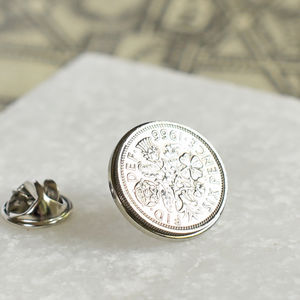 Birth Date Sixpence Tie Or Brooch Pin - what's new