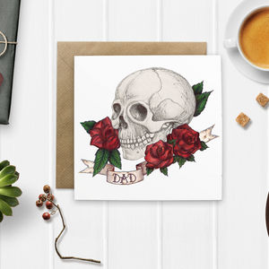 Skull And Rose Tattoo Style 'Dad' Card