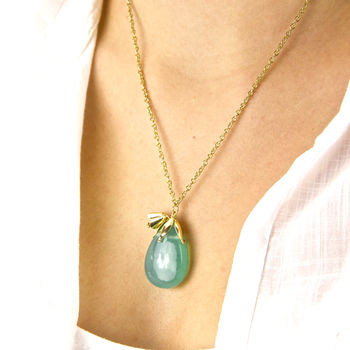 Green Teardrop Gold Bellflower Necklace