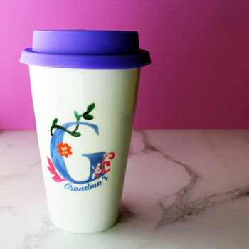 Painted Personalised Initial Travel Cup