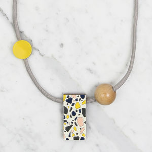 Rectangular Terrazzo Pattern Necklace // Day