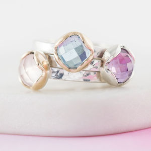 Personalised Disco Queen Gemstone Stacking Ring