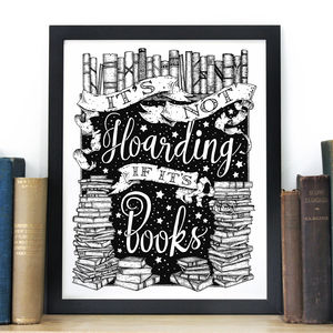 'Book Hoarding' Typography Screen Print - posters & prints