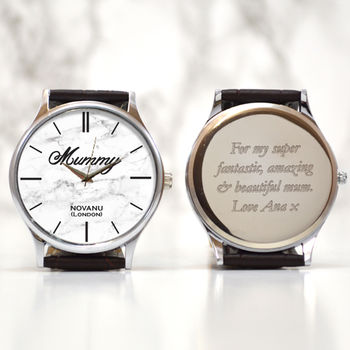 Personalised Wrist Watch White Marble Design