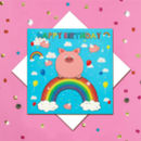 Glitter Rainbow Pig Birthday Card