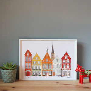 Bruges Skyline Illustration Print - maps & locations
