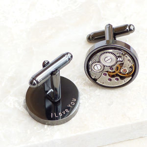 Personalised Gunmetal Vintage Watch Movement Cufflinks - cufflinks