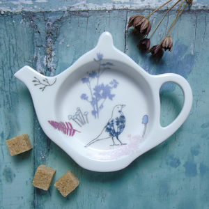 Bone China Teabag Tidy Purple Blackbird Design - kitchen