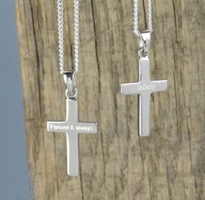 Personalised Men's Silver Cross And Chain
