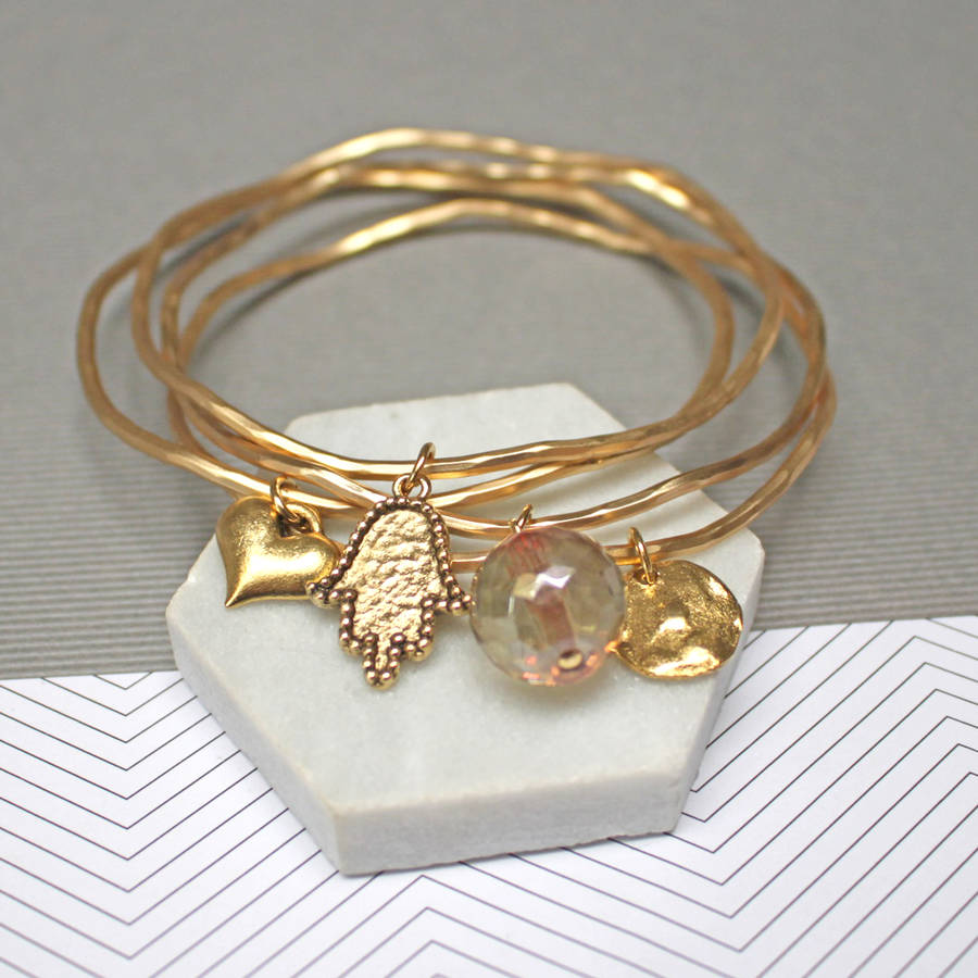 personalised lucky hamsa stacking bangles by jamie london ...
