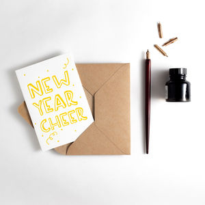 New Year Cheer Letterpress Card - cards