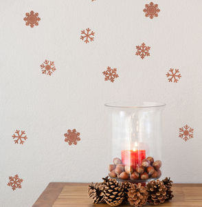 Copper Effect Snowflake Set - wall stickers