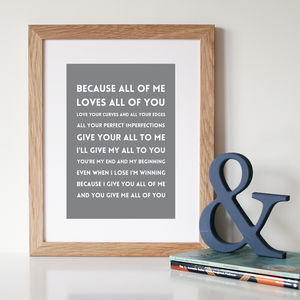 'All Of Me' Song Lyrics Print