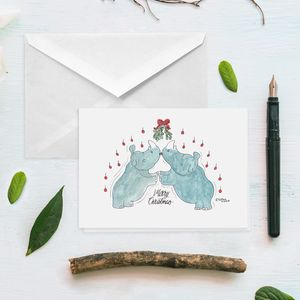 Rhino Kisses Mistletoe Christmas Card - cards