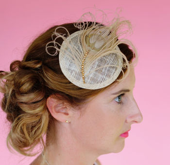Nude And Gold Feather Cocktail Hat