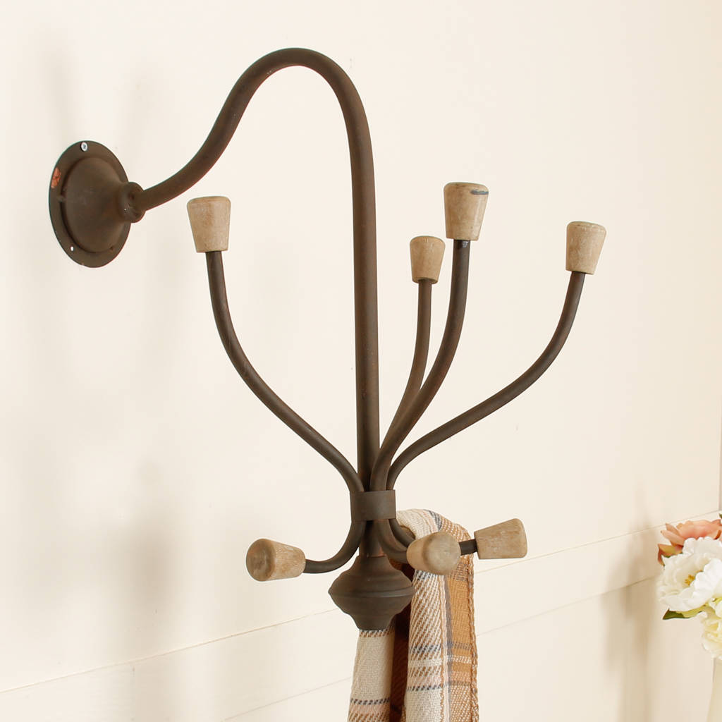 Vintage Multiple Metal Coat Wall Hook Rack Selection By