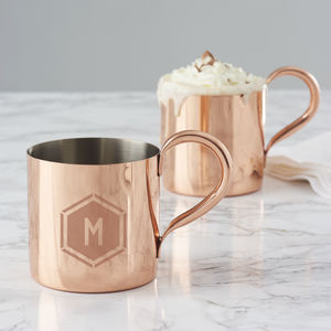 Personalised Geometric Copper Mug - copper gifts