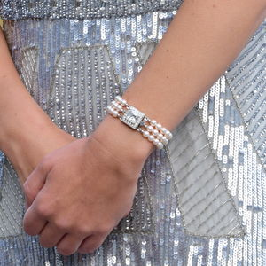 Art Deco Inspired Three String Pearl Bracelet - wedding fashion