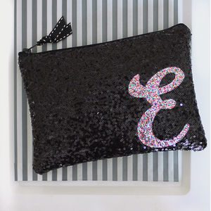 Black Or Navy Sequin Zip Top Clutch - womens